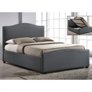 Brunswick Fabric Upholstered Double Bed In Grey