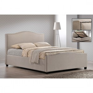 Brunswick Fabric Upholstered King Size Bed In Sand