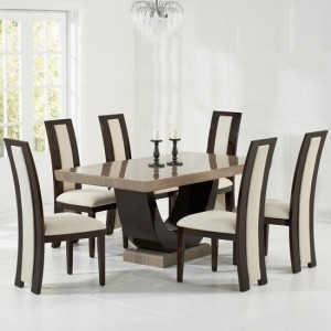 Memphis Marble Dining Set In Brown With 6 Cream Chairs