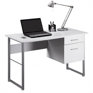 Cabrini Wooden Computer Desk In White High Gloss And Grey Frame