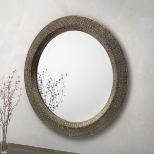 Cadence Large Round Wall Mirror In Pewter Effect