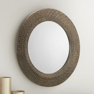Cadence Small Round Wall Mirror In Pewter Effect