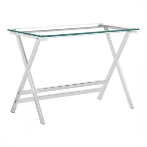 Cadet Clear Glass Console Table With Metal Legs