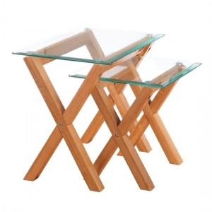 Cadiz Clear Glass Nest Of Tables With White Oak Wooden Legs