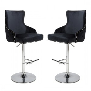 Cairo Black Brushed Velvet Bar Stool In Pair