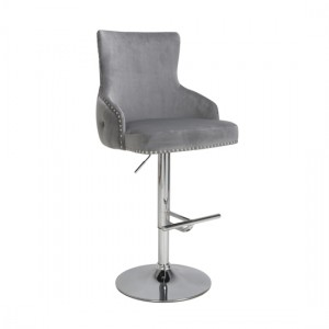 Cairo Brushed Velvet Bar Stool In Grey