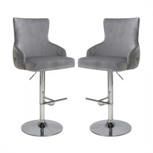 Cairo Grey Brushed Velvet Bar Stool In Pair