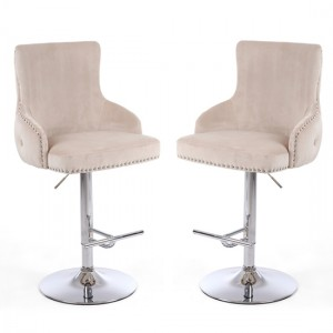 Cairo Mink Brushed Velvet Bar Stool In Pair