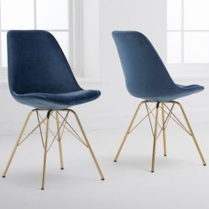 Calabasus Blue Velvet Dining Chairs In Pair With Gold Legs