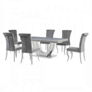 Calacatta White Marble Dining Table With 6 Liyana Grey Chairs