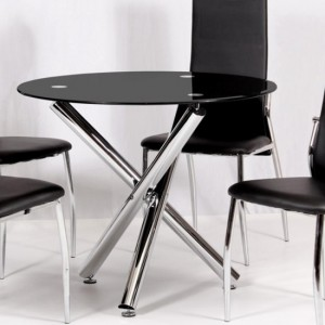 Calder Black Glass Dining Table With Chrome Metal Legs