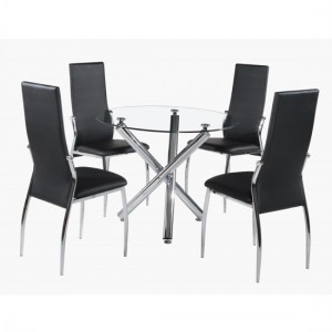 Calder Clear Glass Dining Set With Chrome Legs And 4 Chairs