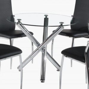 Calder Clear Glass Dining Table With Chrome Metal Legs