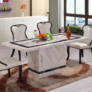 Calgary Marble Dining Table In Natural Stone And Lacquer