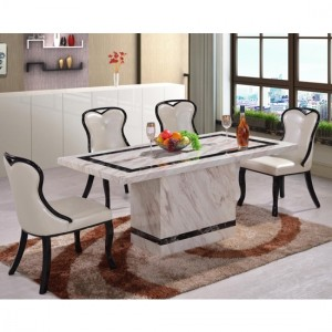 Calgary Natural Stone Marble Dining Set In White With Marble Base
