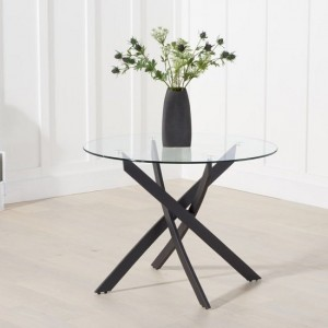 Panama Glass Dining Table Round In Clear With Metal Legs