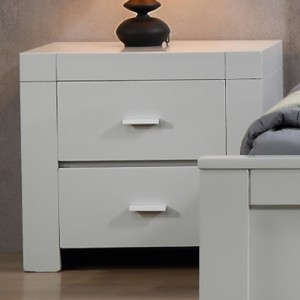 California Solid Rubberwood Bedside Cabinet In Grey