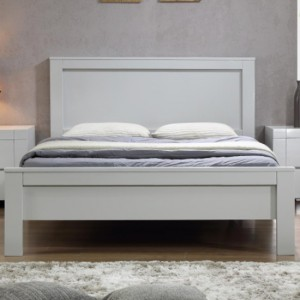 California Solid Rubberwood King Size Bed In Grey