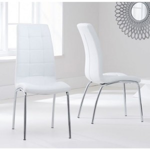 California White Faux Leather Dining Chairs With Chrome Legs In Pair