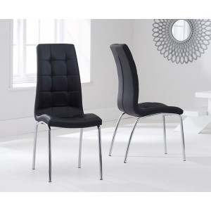Opal Dining Chair In Black Faux Leather In A Pair