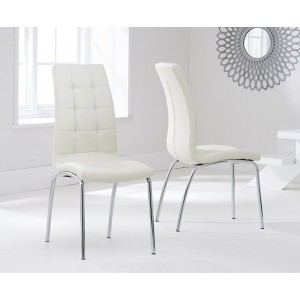 Opal Dining Chair In Cream Faux Leather In A Pair