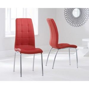 Opal Dining Chair In Red Faux Leather In A Pair