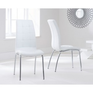Opal Dining Chair In White Faux Leather In A Pair