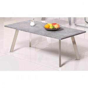 Calipso Coffee Table In Concrete Effect with Brushed Stainless Steel Legs