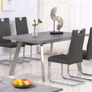 Calipso Concrete Dining Table With Brushed Stainless Steel Legs