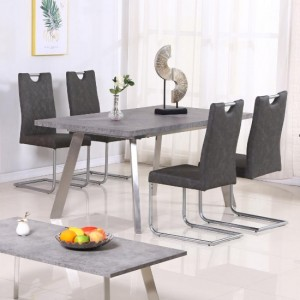 Calipso Concrete Effect Wooden Dining Set With 4 PU Grey Chairs