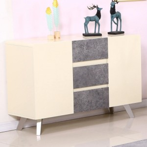 Calipso Wooden Sideboard In Cream High Gloss And Concrete Effect