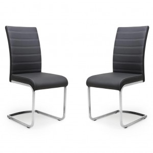 Callisto Black Leather Dining Chair In Pair