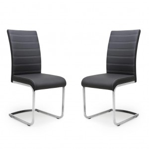 Callisto Grey Leather Dining Chair In Pair