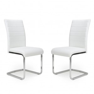 Callisto White Leather Dining Chair In Pair