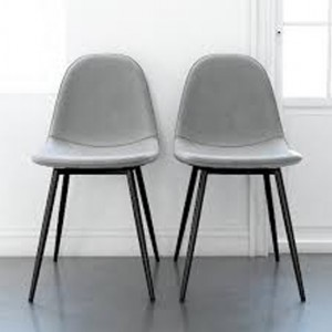 Calvin Grey Fabric Upholstered Dining Chairs In Pair