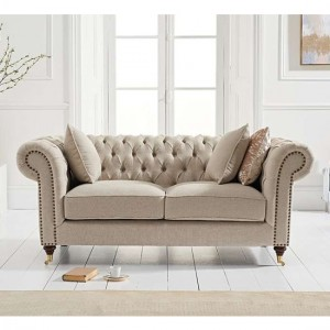 Camara Chesterfield Linen 2 Seater Sofa In Cream