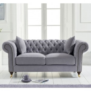Camara Chesterfield Linen 2 Seater Sofa In Grey
