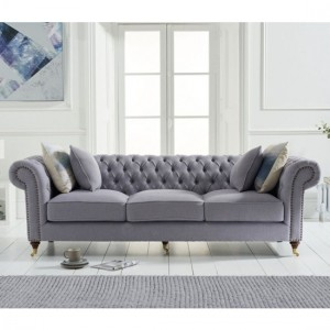 Camara Chesterfield Linen Fabric Upholstered 3 Seater Sofa In Grey