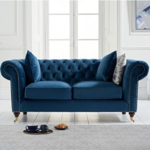 Camara Chesterfield Velvet 2 Seater Sofa In Blue
