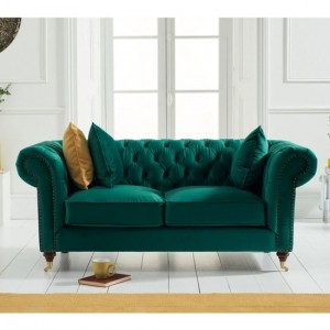 Camara Chesterfield Velvet 2 Seater Sofa In Green