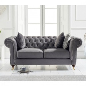 Camara Chesterfield Velvet 2 Seater Sofa In Grey