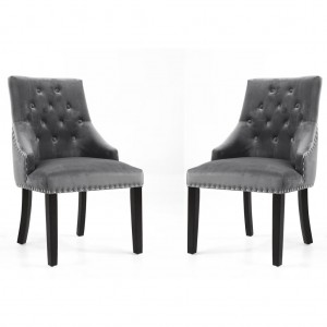 Camberwell Grey Brushed Velvet Accent Chair In Pair