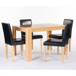 Cambridge Wooden Dining Set In Oak With 4 Chairs