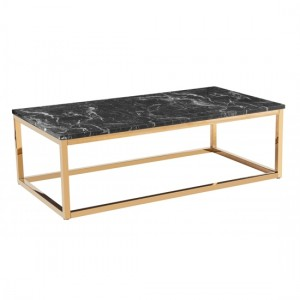 Camelot Marble Effect Coffee Table With Golden Chrome Base