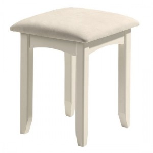Cameo Wooden Dressing Stool In Stone White