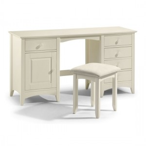 Cameo Wooden Dressing Table And Stool In Stone White