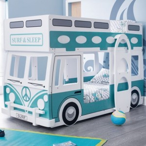 Campervan Wooden Bunk Bed In Vintage Green And White