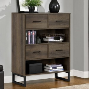 Candon Short Wooden Bookcase In Medium Brown
