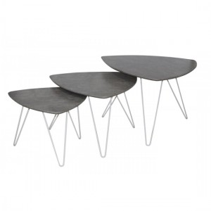 Cannon Wooden Nest Of Tables In Stone Effect With White Metal Legs