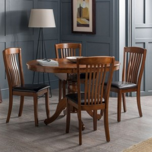 Canterbury Extending Wooden Dining Table In Mahogany With 4 Chairs
